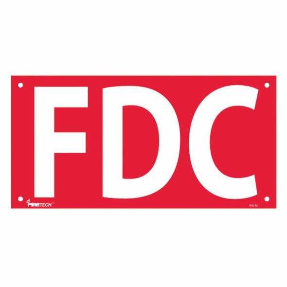 """""""FDC"""" Sign, 6"""" Letters, Aluminum, 7"""" x 14"""""""
