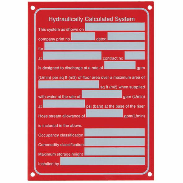 """Hydraulic System"" Sign,  Aluminum, 5"" x 7"""