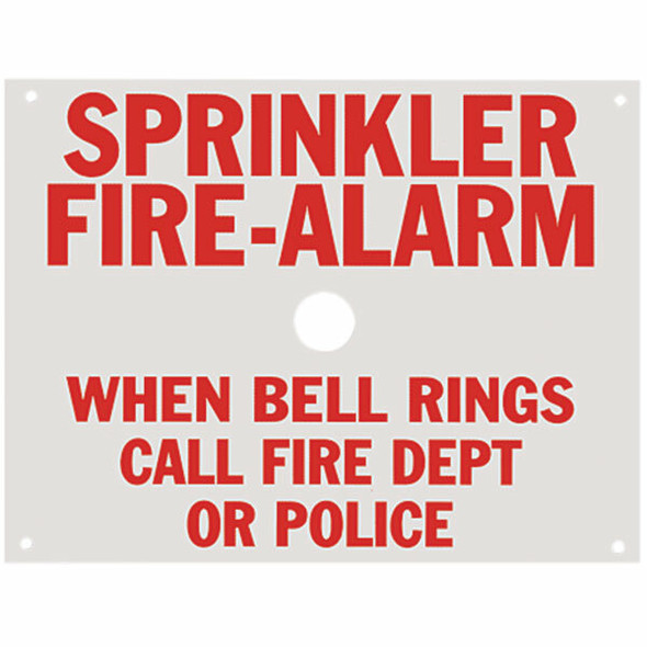 "Sprinkler Fire Alarm Sign, Aluminum, 7 3/4"" x 6"""