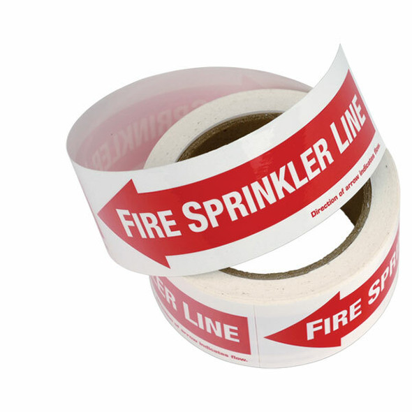 Fire Sprinkler Line, Left Arrow, Vinyl Sticker, Decal