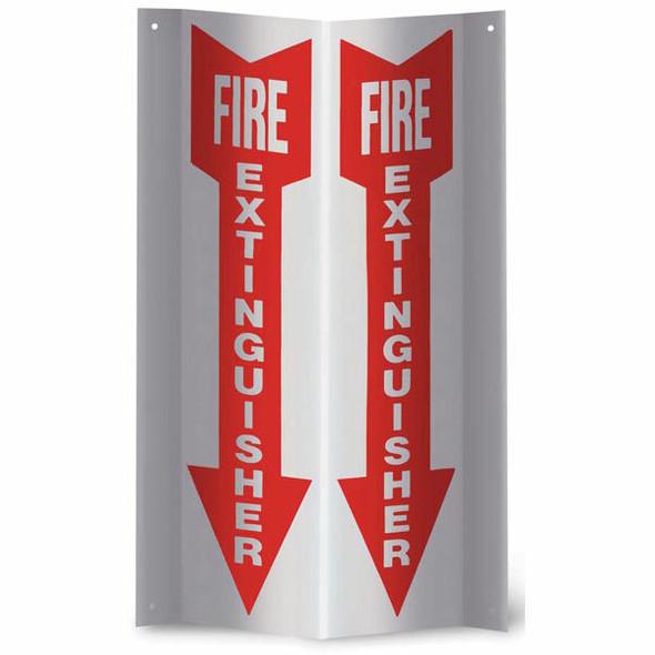 """""""Fire Extinguisher"""" Arrow Sign, 3-D Rigid Plastic, 4"""" x 12"""""""