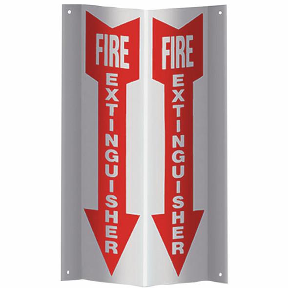 """""""Fire Extinguisher"""" Arrow Sign, 3-D Rigid Plastic, 4"""" x 18"""""""