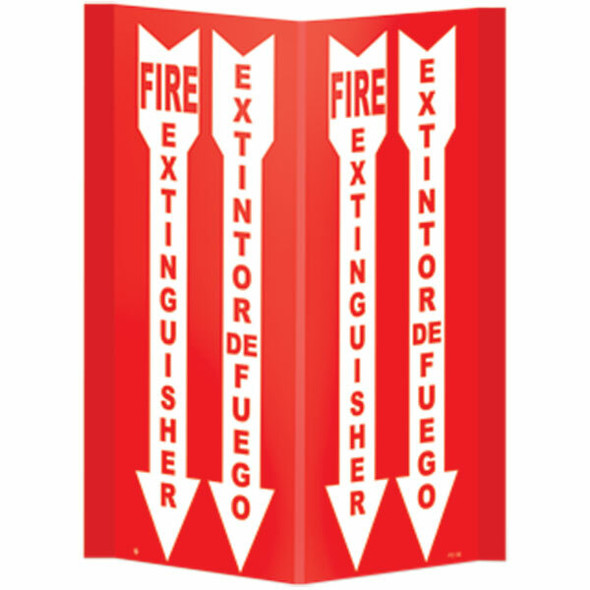 """""""Fire Extinguisher"""" Arrow Sign, Bilingual, 3-D Rigid Plastic, 11"""" x 18"""""""
