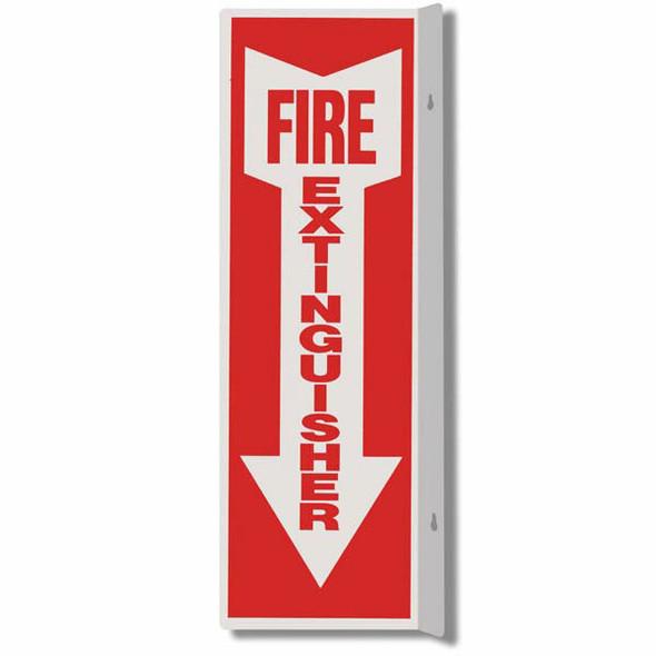"""Fire Extinguisher"" Arrow Sign, 90° Angle, Rigid Plastic, 4"" x 12"""