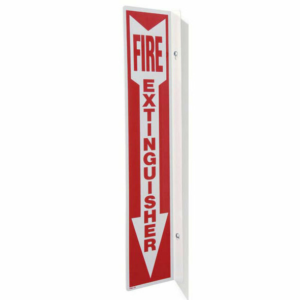 """Fire Extinguisher"" Arrow Sign, 90° Angle, Rigid Plastic, 4"" x 18"""