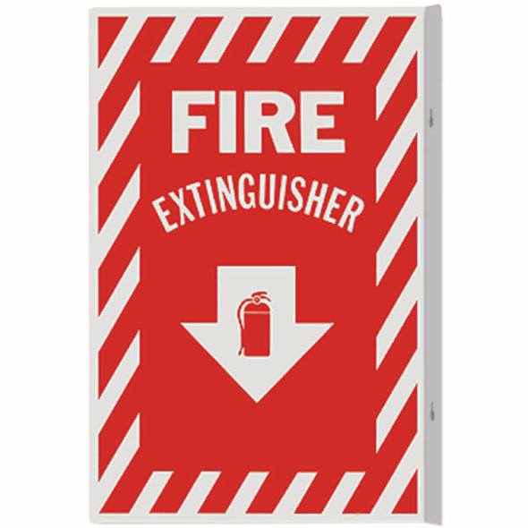 """Fire Extinguisher"" Arrow Sign, 90° Angle, Rigid Plastic, 8"" x 12"""
