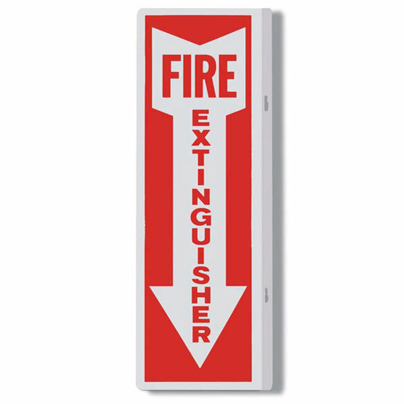 """Fire Extinguisher"" Arrow Sign, 90° Angle, Aluminum, 4"" x 12"""