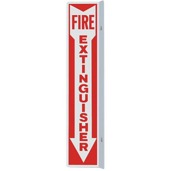 """Fire Extinguisher"" Arrow Sign, 90° Angle, Aluminum, 4"" x 18"""