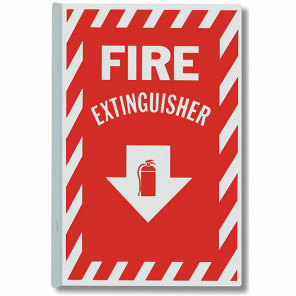 """Fire Extinguisher"" Arrow Sign, 90° Angle, Aluminum, 8"" x 12"""