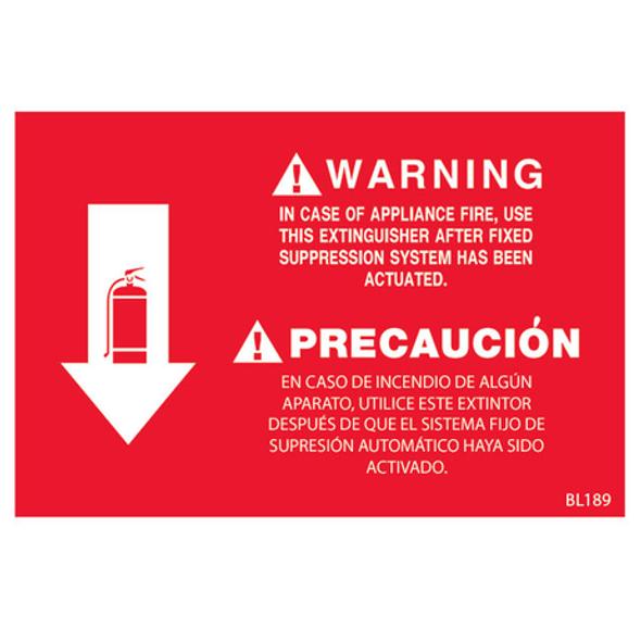Fire Extinguisher Class K Arrow Sign