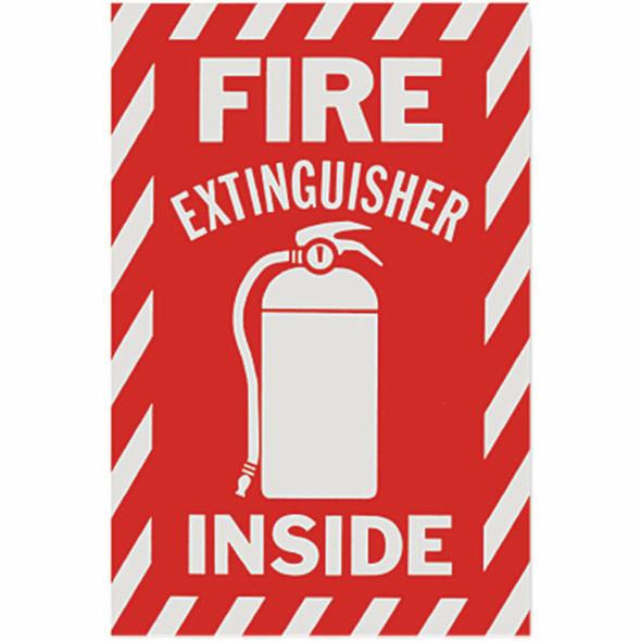 """Fire Extinguisher Inside"" Sign, Vinyl Sticker, Decal 6"" x 9"""