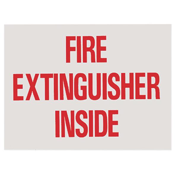 """Fire Extinguisher Inside"" Sign, Vinyl Sticker, Decal 4"" x 3"""