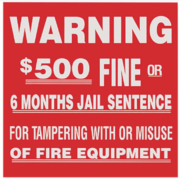 FE Warning Sign $500