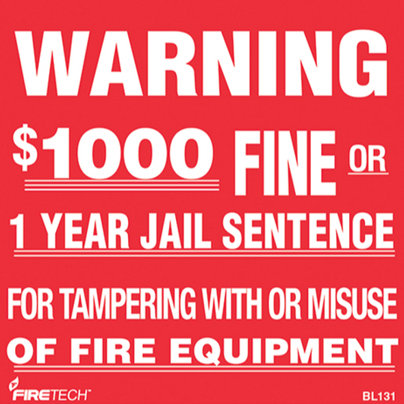 FE Warning Sign $1000