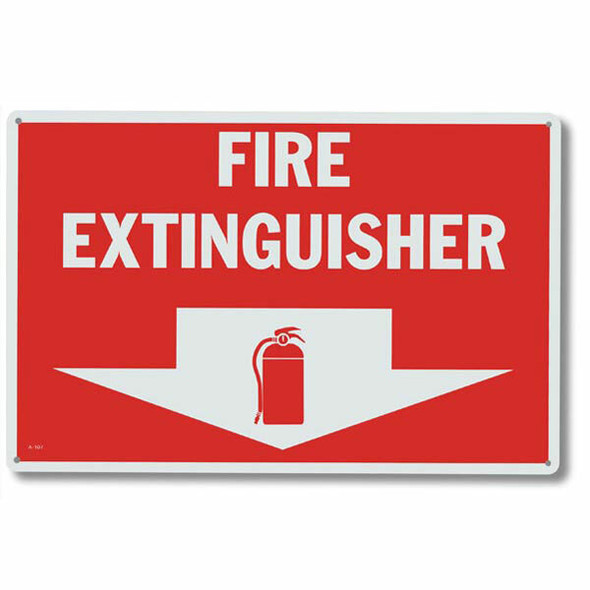"""Fire Extinguisher"" Arrow Sign, Aluminum, 12"" x 8"""