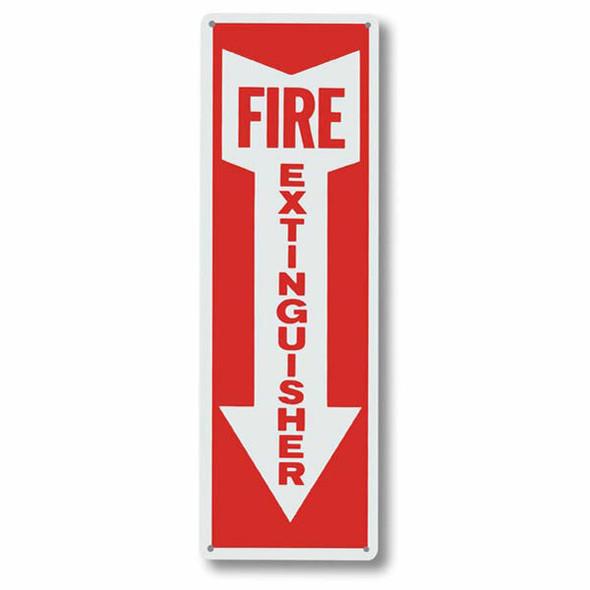 """Fire Extinguisher"" Arrow Sign, Aluminum, 4"" x 12"""