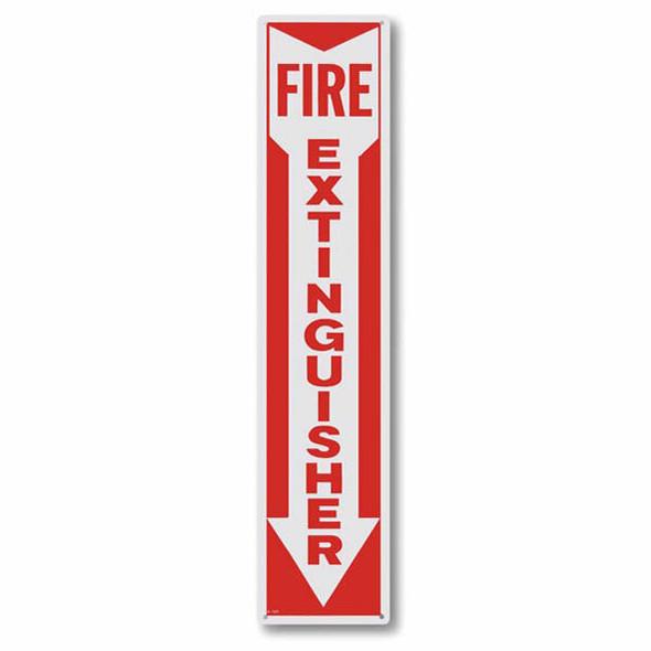 """Fire Extinguisher"" Arrow Sign, Aluminum, 4"" x 18"""