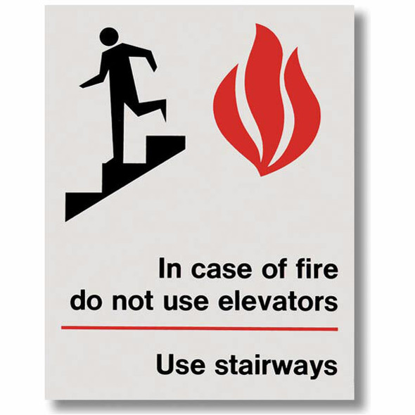 """""""In Case Of Fire Do Not Use Elevators"""" Sign, Vinyl Sticker, Decal 5 1/2"""" x 7"""""""