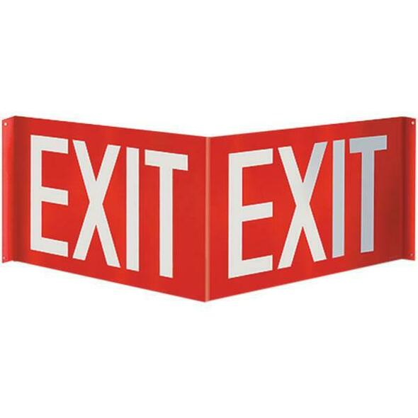 """Exit"" Angle Sign, 3D, Plastic, 12"" x 8"""