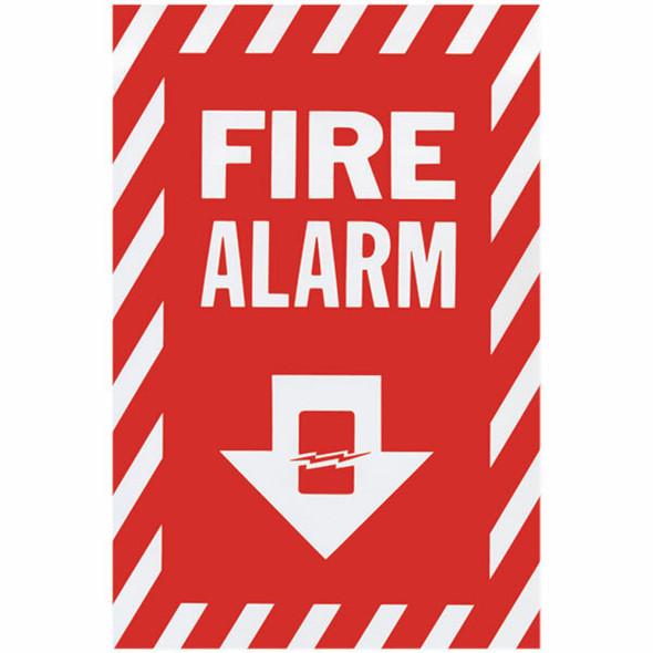 """Fire Alarm"" Arrow Sign, Vinyl Sticker, Decal 8"" x 12"""