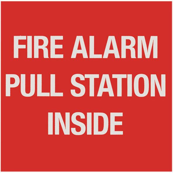 """Fire Alarm Pull Station"" Sign, Vinyl Sticker, Decal 4"" x 4"""