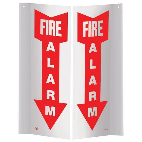 """""""Fire Alarm"""" Arrow Angle Sign, 3D, Plastic, 4"""" x 12"""""""