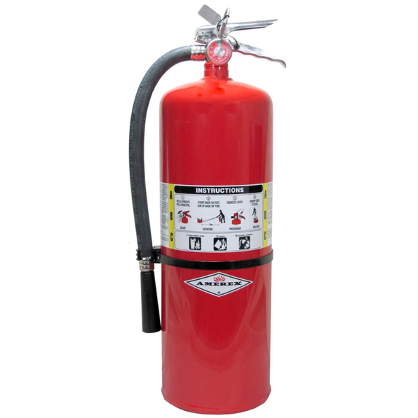 Amerex 423 Fire Extinguisher With Brass Valve, ABC, 20lb, 10A120BC With Wall Bracket.  MPN 01010