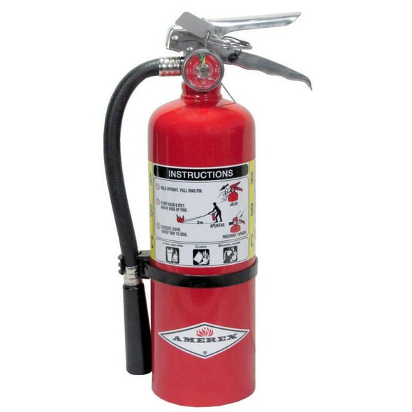 Amerex B424 Fire Extinguisher With Brass Valve, ABC, 5lb, 2A10BC, With Wall Bracket.  MPN 15267