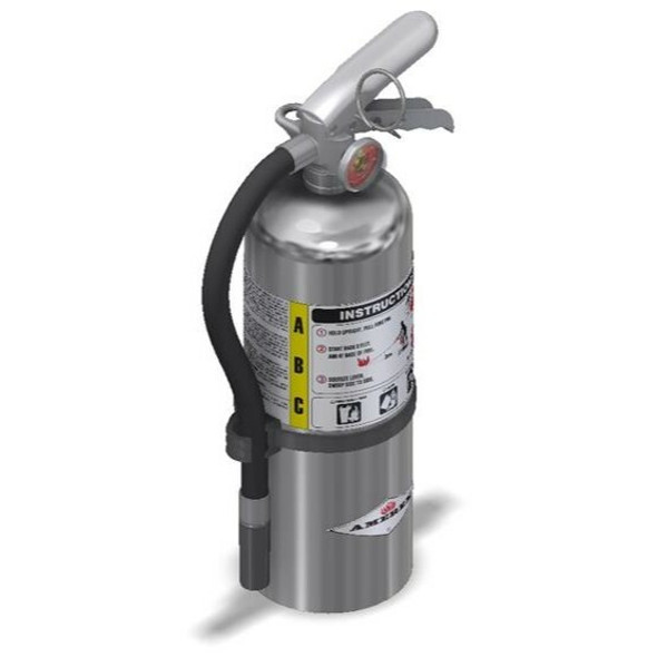 Amerex B402C Chrome Fire Extinguisher, ABC, 5lb, 3A40BC, With Wall Bracket Manufacturer Part Number: 15913