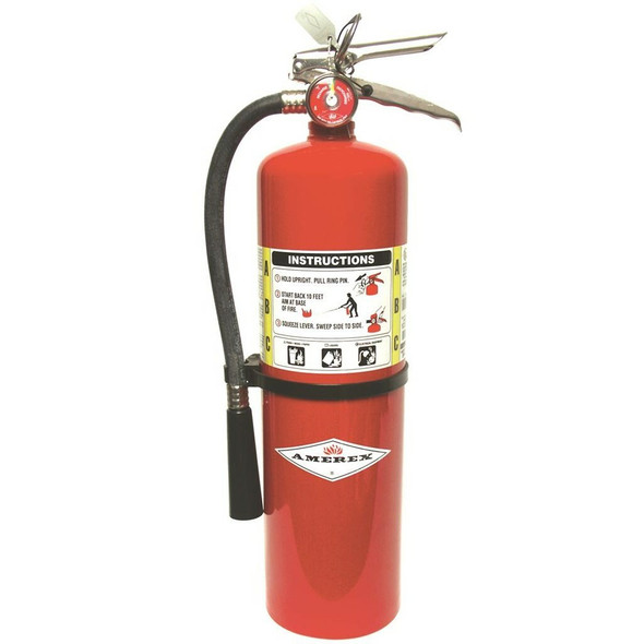 Amerex B441 Fire Extinguisher With Brass Valve, ABC, 10lb, 4A80BC With Wall Bracket Manufacturer Part Number: 14966