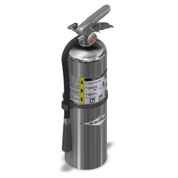 Amerex B441C Chrome Fire Extinguisher With Brass Valve, ABC, 10lb, 4A80BC With Wall Bracket Manufacturer Part Number: 15365
