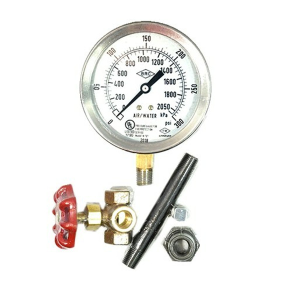 Air/Water Gauge Kit, 0-300 PSI, Stainless Steel, UL/FM Approved Manufacturer Part Number: 100-325-00080