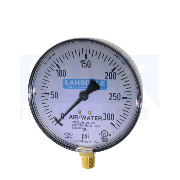 "Fire Sprinkler Air/Water Gauge, 0-300 PSI, Plastic, UL/FM Approved, 1/4"" NPT - Dated 2021"