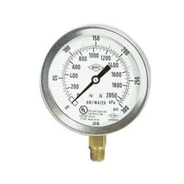 "Fire Sprinkler Air/Water Gauge, 0-300 PSI, Stainless Steel, UL/FM Approved, 1/4"" NPT"