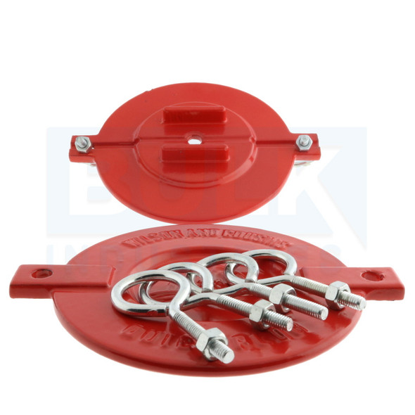 """Fire Department Connection FDC Aluminum Break Away Caps 2 1/2"""" Red (Set of 2)"""