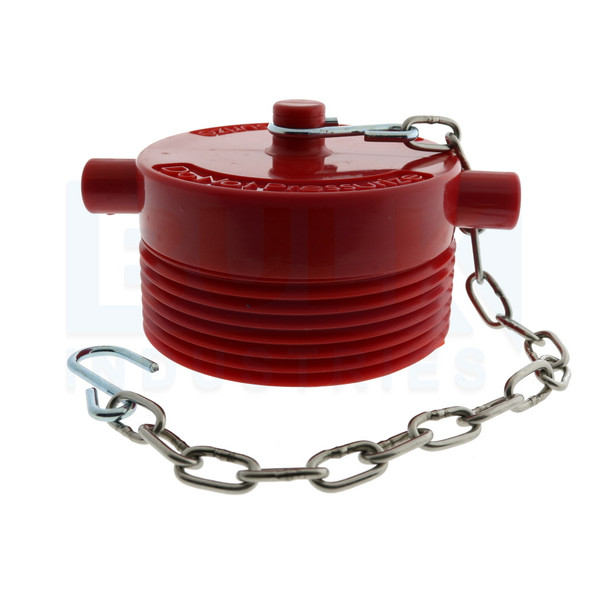 """Fire Department Connection FDC Plug With Chain, Plastic, 2 1/2"""" NST"""