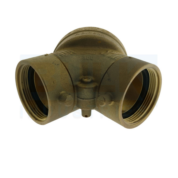 """Fire Department Connection FDC, Straight, 4"""" x 2 1/2"""" x 2 1/2"""" NST, Single Clapper Brass"""