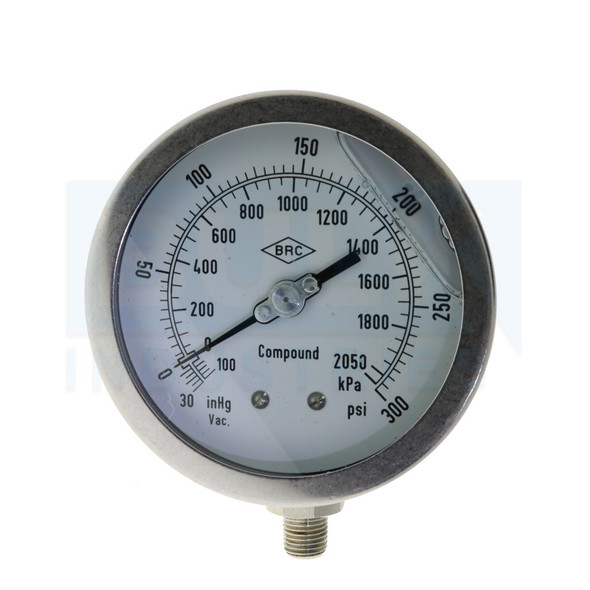 """Liquid Filled Compound Gauge -30 To 300 PSI, Stainless Steel, 4"""", 1/4"""" NPT"""