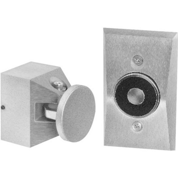 Kidde Edwards 1504-AQN5 Flush Wall Mounted Electromagnetic Door Holder, Long Catch Plate, 24V AC/DC; 120V AC