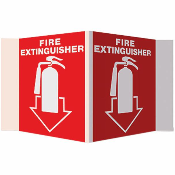 """""""Fire Extinguisher"""" Arrow Sign, 3-D Rigid Plastic, 5"""" x 6"""""""