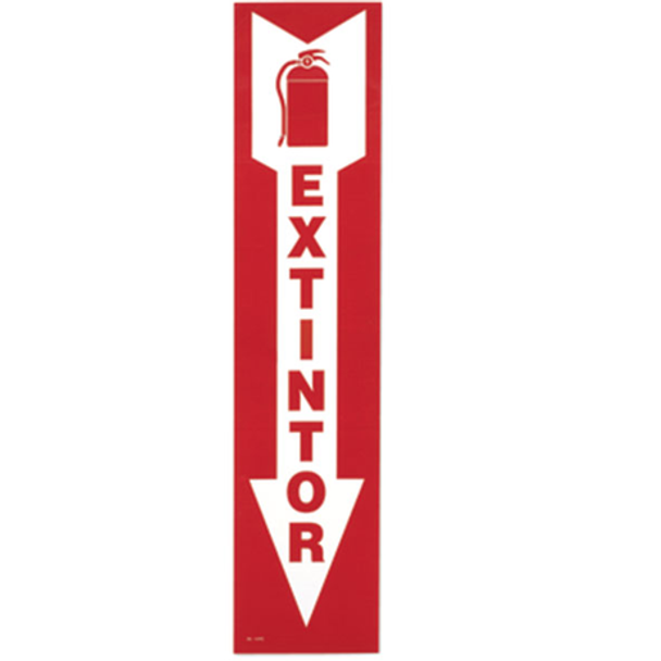"Fire Extinguisher Arrow Sign, Spanish ""Extintor"""