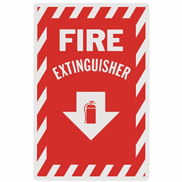 """Fire Extinguisher"" Arrow Sign, Aluminum, 8"" x 12"""