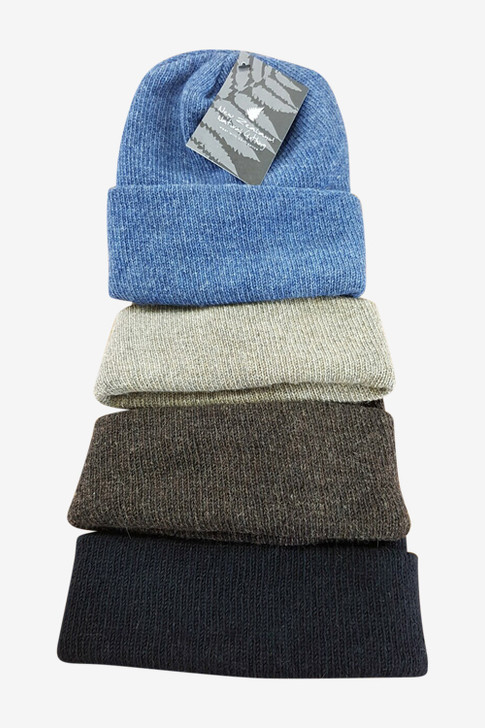 Pure new NZ wool beanie hat available in , Beige, Natural Brown, Black  Colours vary based on yarn availability