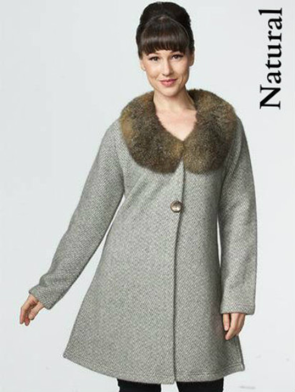 Natural Tweed Coat with Possum Fur Collar