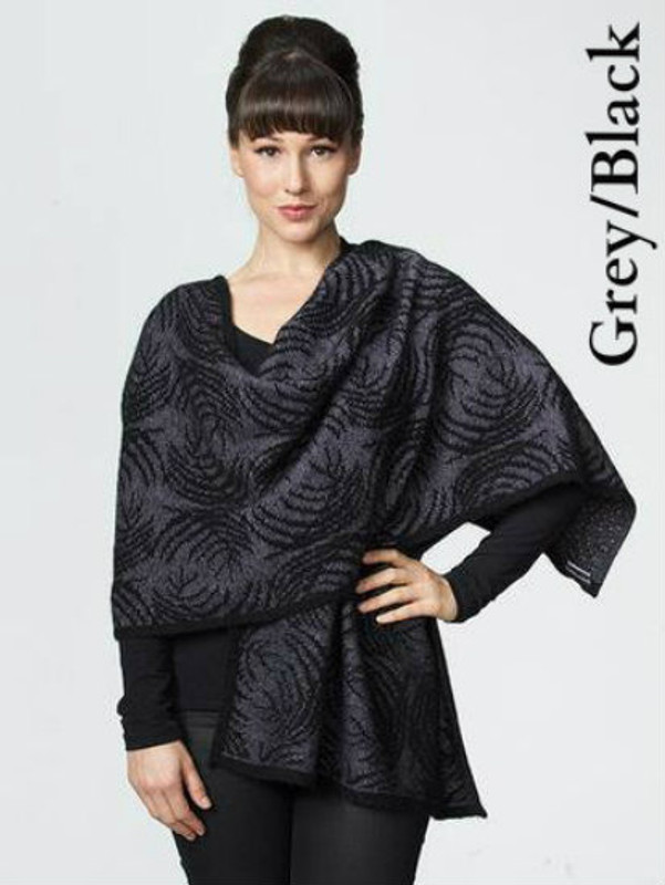 Grey/Black Fern Wrap