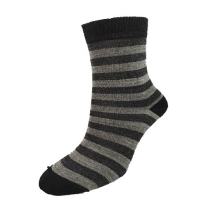 Big Stripe Child's Sock in Black and Grey