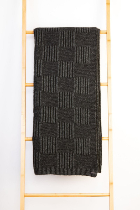 Black/Grey Basket Weave Throw