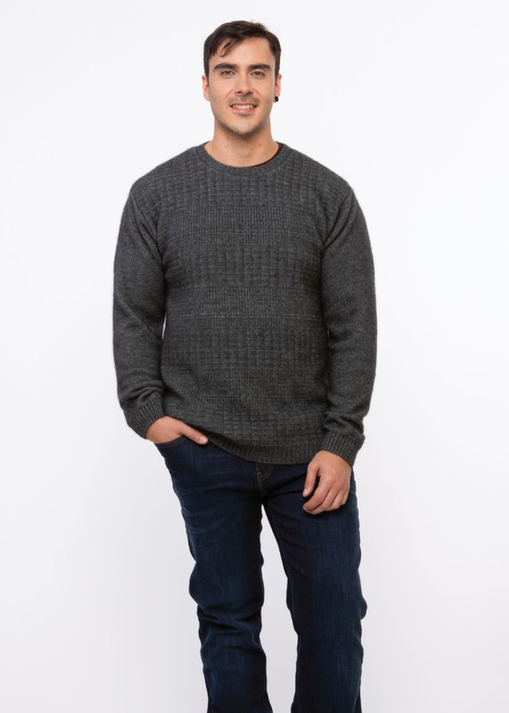 GREY Textured Front Jumper KO853