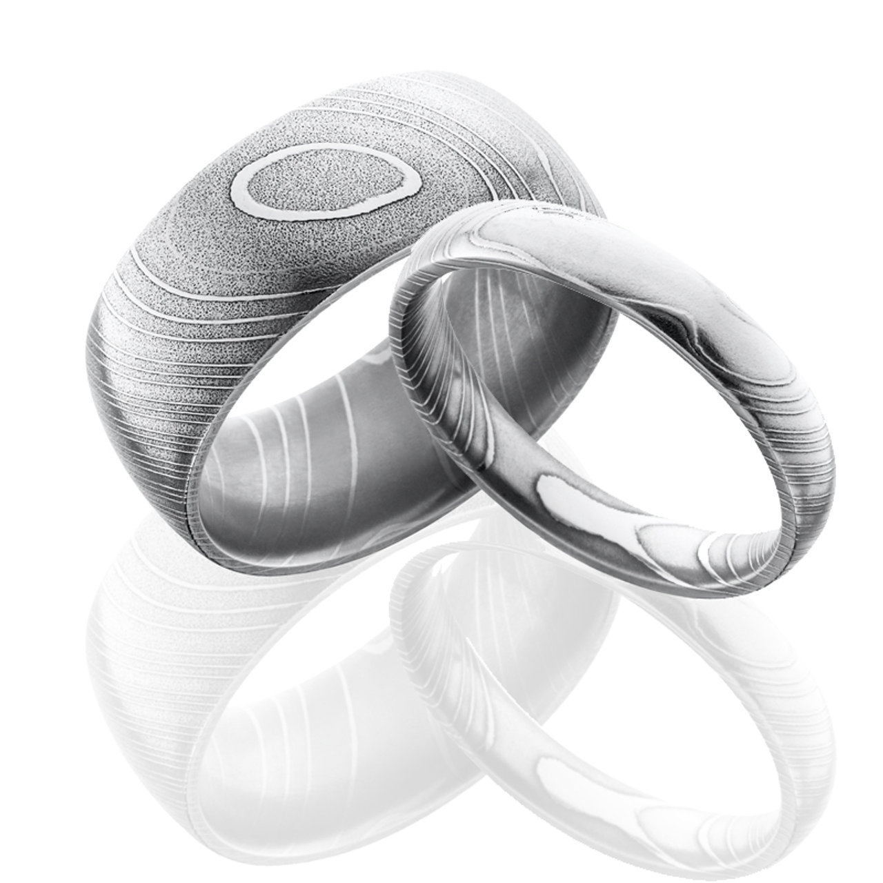 His And Hers Wedding Ring Sets.Damascus Steel Wedding Ring Set