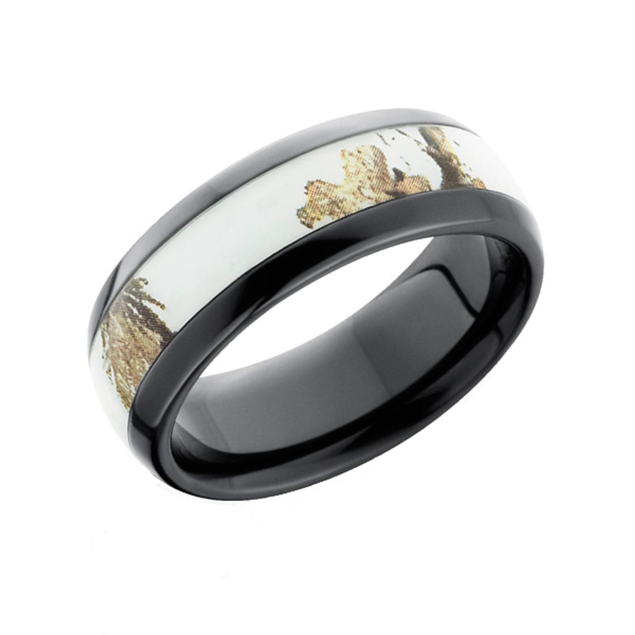 Realtree Or Mossy Oak Camo Ring Domed Black Zirconium Camokix